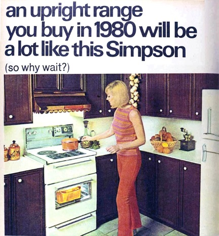 1970s Simpson brand range ad feat. photo of woman cooking while dressed in dark pink pants and multi-pinks striped shirt.