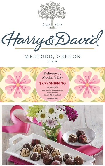 Harry and David email add: picture of plated chocolate truffles, suroounded by pink ribbon and pink graphics, and white flowers.