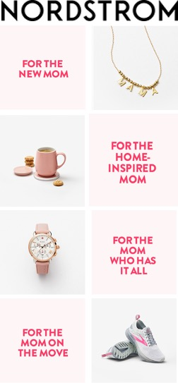 Nordstrom email ad, offering gold jewelry, pink mugs, a pink and white watch, and pink and white sneakers.