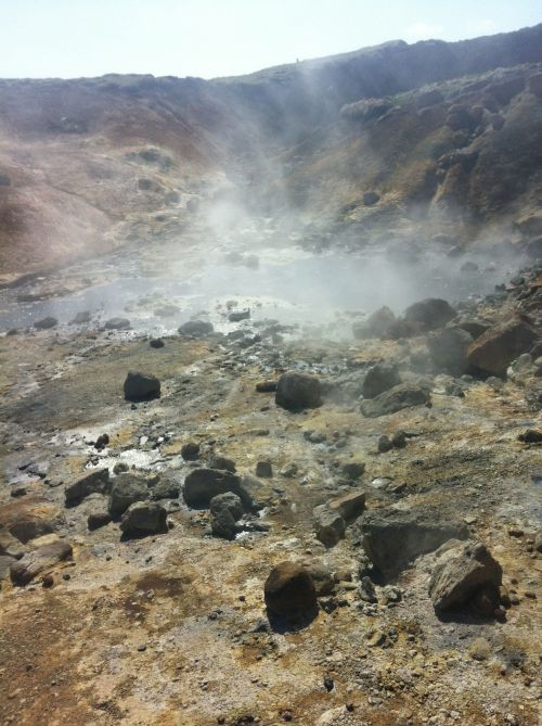 Steaming pools of mud