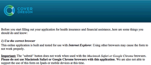 Oregon health exchange requires Microsoft Internet Explorer!