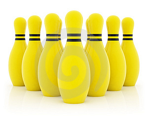 Stock Images - Ten yellow bowling pins