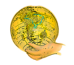 Free Stock Images: Illustrated Globe In Hand Picture. Image: 33939