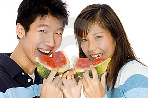 Free Stock Photo - Enjoying Watermelon