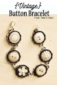 Vintage Button Bracelet Tutorial www.freetimefrolic.com
