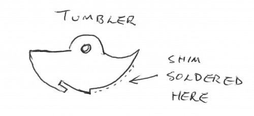 Diagram of Tumbler with shim soldered.