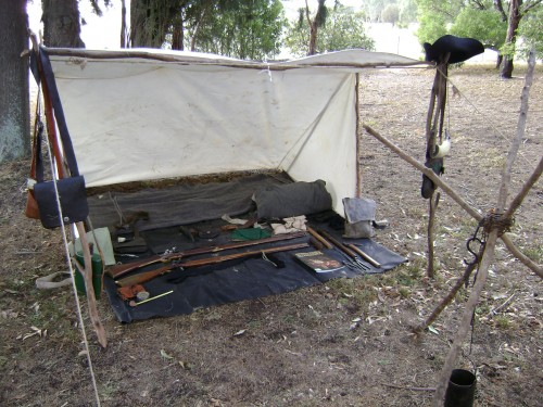 """Le Reynard's simple Trapper camp at the """"Age of Gunpowder"""" event."""