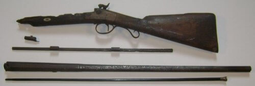 Showing years of neglect - Original 19c muzzle loader, stock with lock, rib with thimbles, barrel & ramrod.