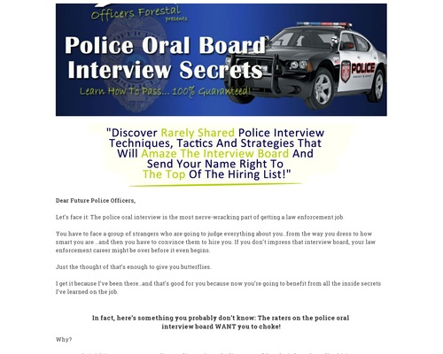 Police Oral Board Interview Secrets PDF – Sample Interview