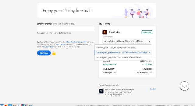 Adobe Illustrator Plans Sign-up Page Screenshot