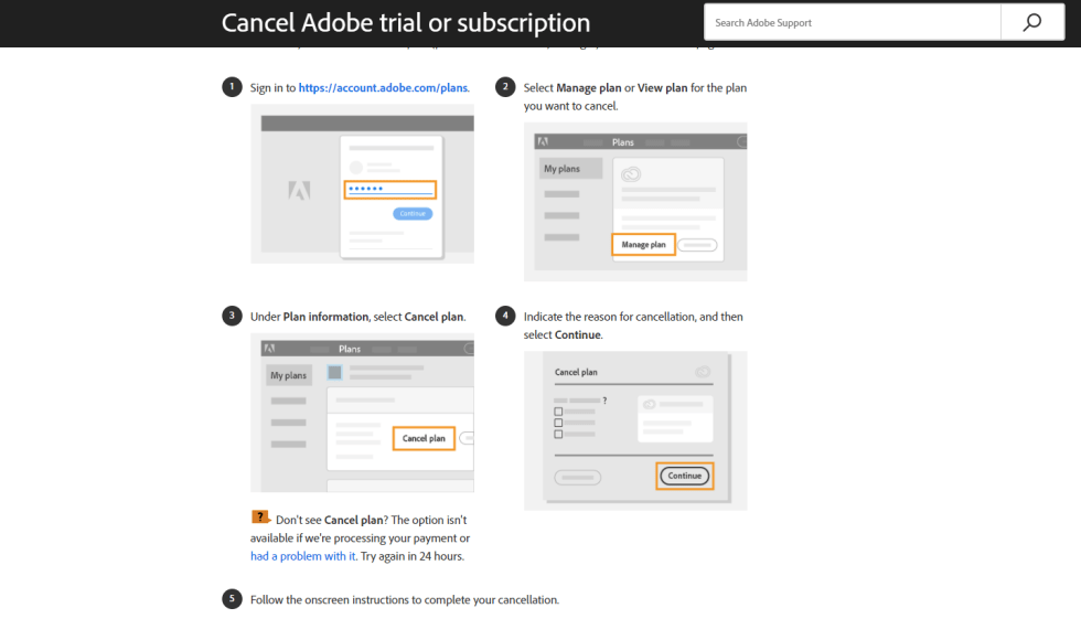 Adobe Creative Cloud Free Trial Cancellation Page