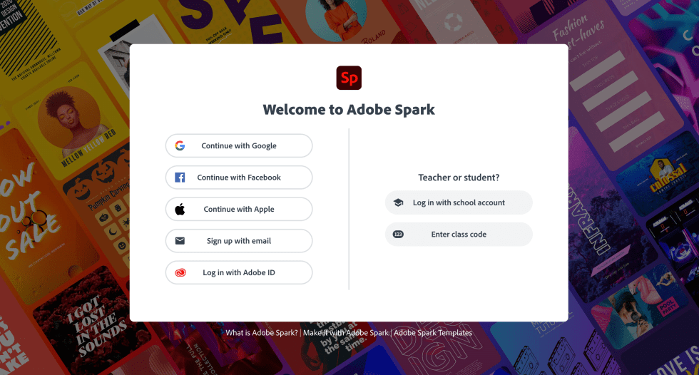 Adobe Spark Login Page Screenshot