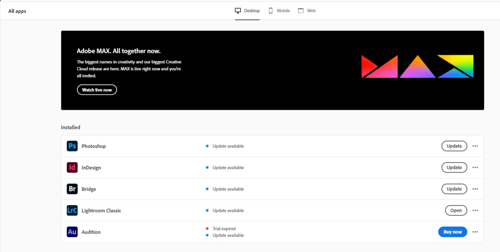 Adobe Indesign Creative Cloud Screenshot