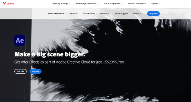 Adobe After Effects Free Trial Landing Page