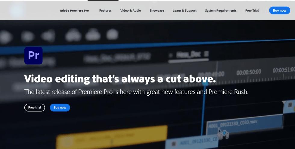 Adobe Premier Pro Free Trial Landing Page