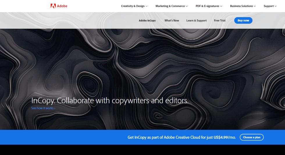 Adobe InCopy Free Trial Landing Page