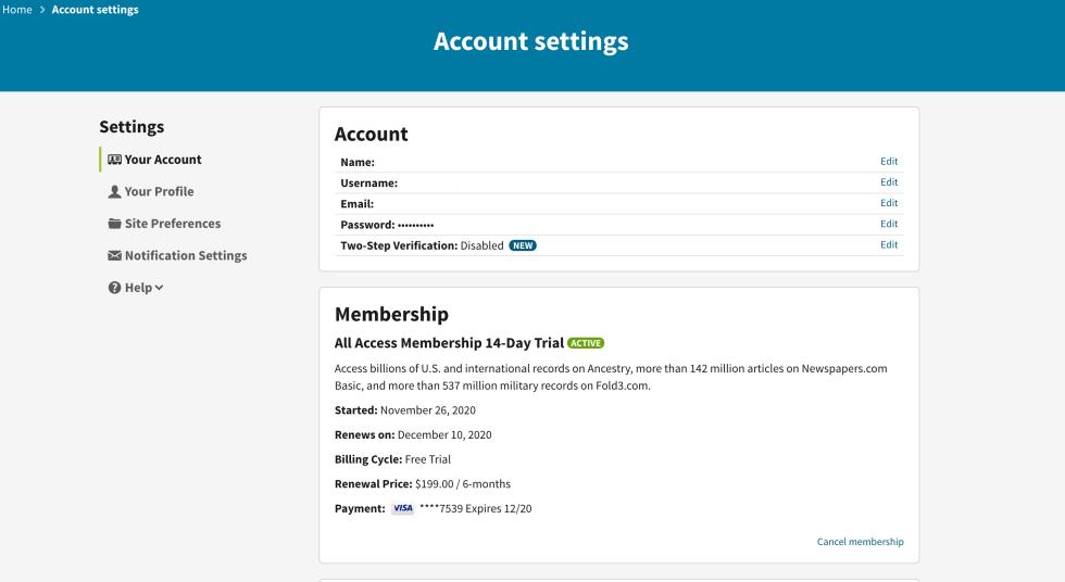 Ancestry.com Account Settings