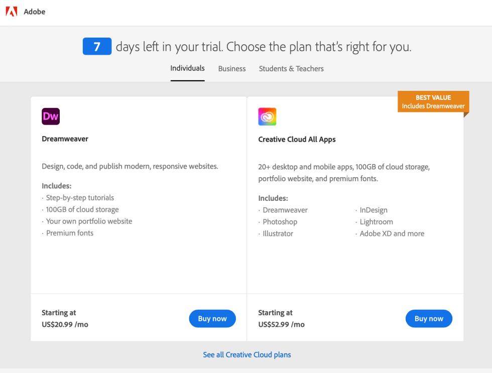 Adobe Dreamweaver Plans