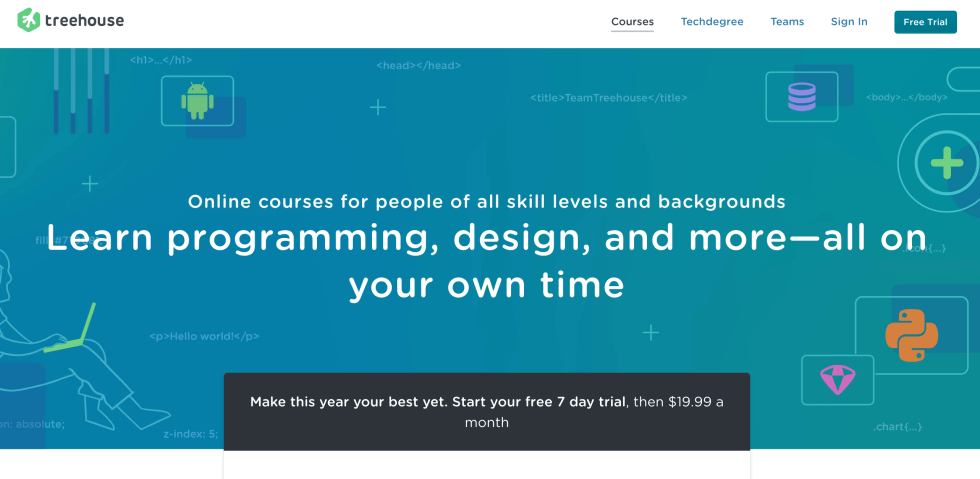 TeamTreehouse Landing Page