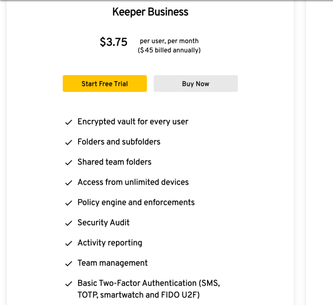 Keeper Security Business Pricing