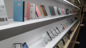 Long row of phone cases