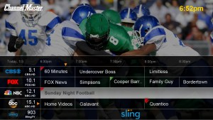 ChannelMaster DVR+ guide screen showing Sling TV and local channels