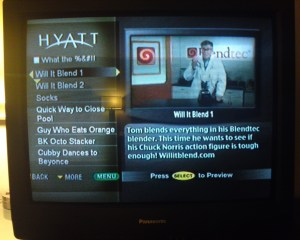 2009 Hyatt TV interactive menu