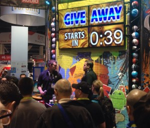 Convention booth showing Give Away Starts in 39 seconds
