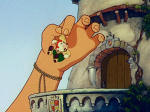 Cartoon of a giant hand grabbing Gabby