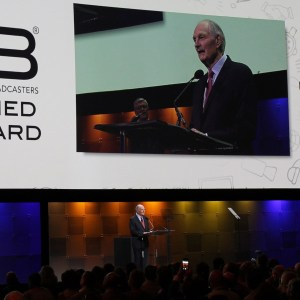 Alan Alda accepting the NAB Distinguished Service Award