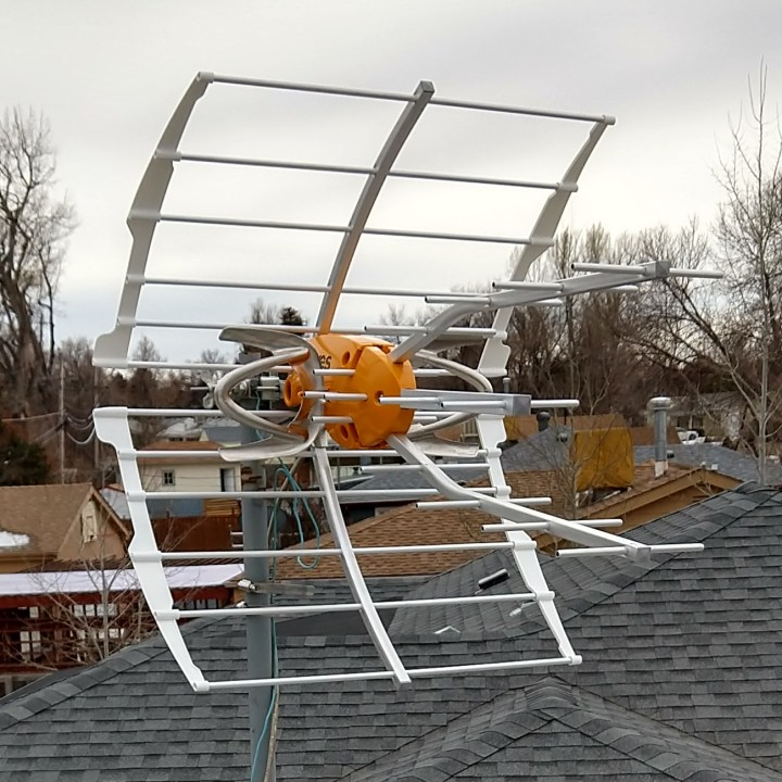 Televes over-the-air TV antenna on a rooftop mount