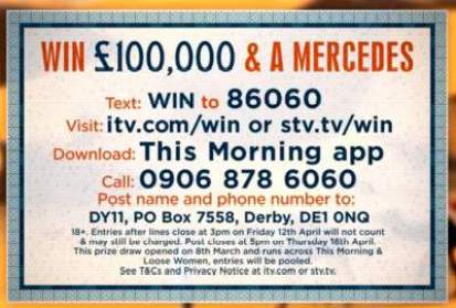 Loose Women Mercedes Competition ITV
