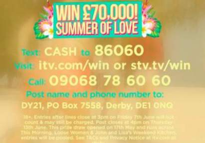 Summer of Love Prize Loose Women ITV