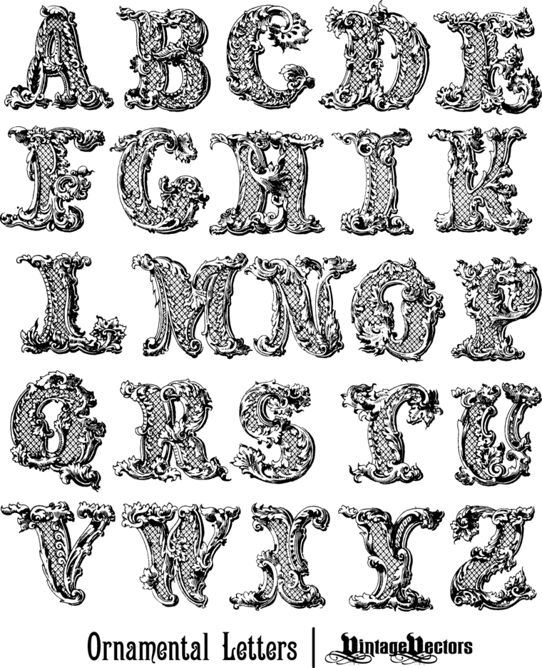 Decorative, Ornamental Letters Of The English Alphabet