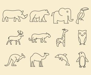 animal zoo line icons freevector graphics logos artworks vectors silhouettes crocodile zebra
