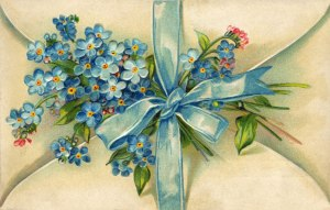 vintage whimsical blue flowers note 1