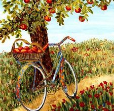 A vintage illustration of a bicycle leaned up against an apple tree.
