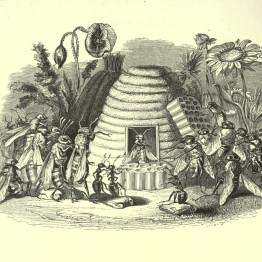 unique and bizarre vintage illustration of a bee hive and animorphic bees