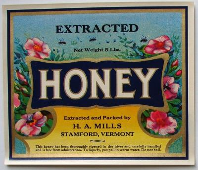 A colorful vintage label for a past honey company in vermont