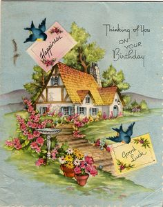 This vintage greeting features a charming victorian era cottage