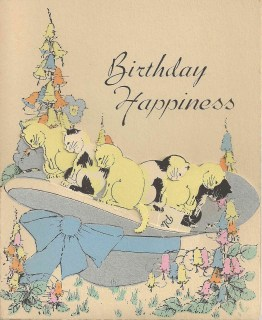 A charming vintage cat themed birthday card