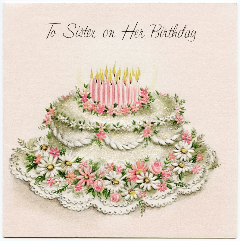 An exquisite vintage birthday cake illustration.