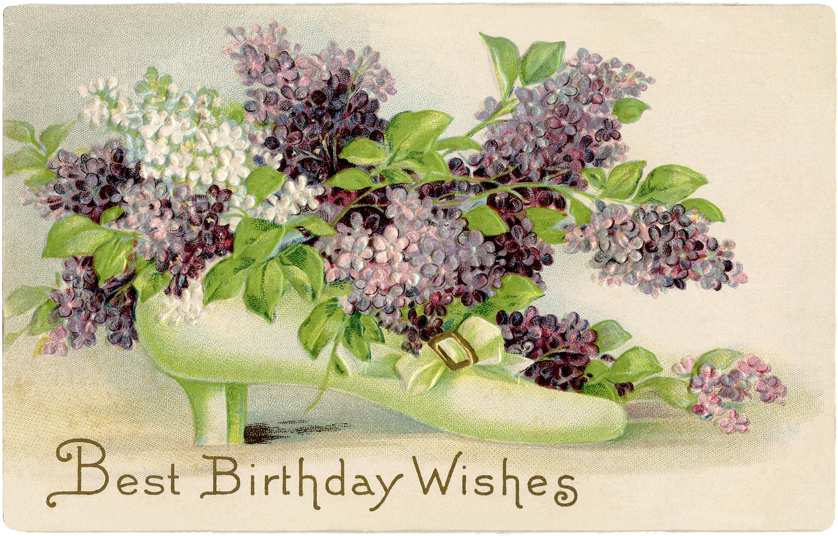 A unique vintage birthday card of a blossoming shoe!