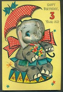 A vintage circus elephant birthday card.
