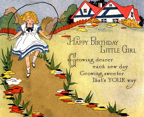 Free Happy Birthday Greeting Little Girl | Free Vintage