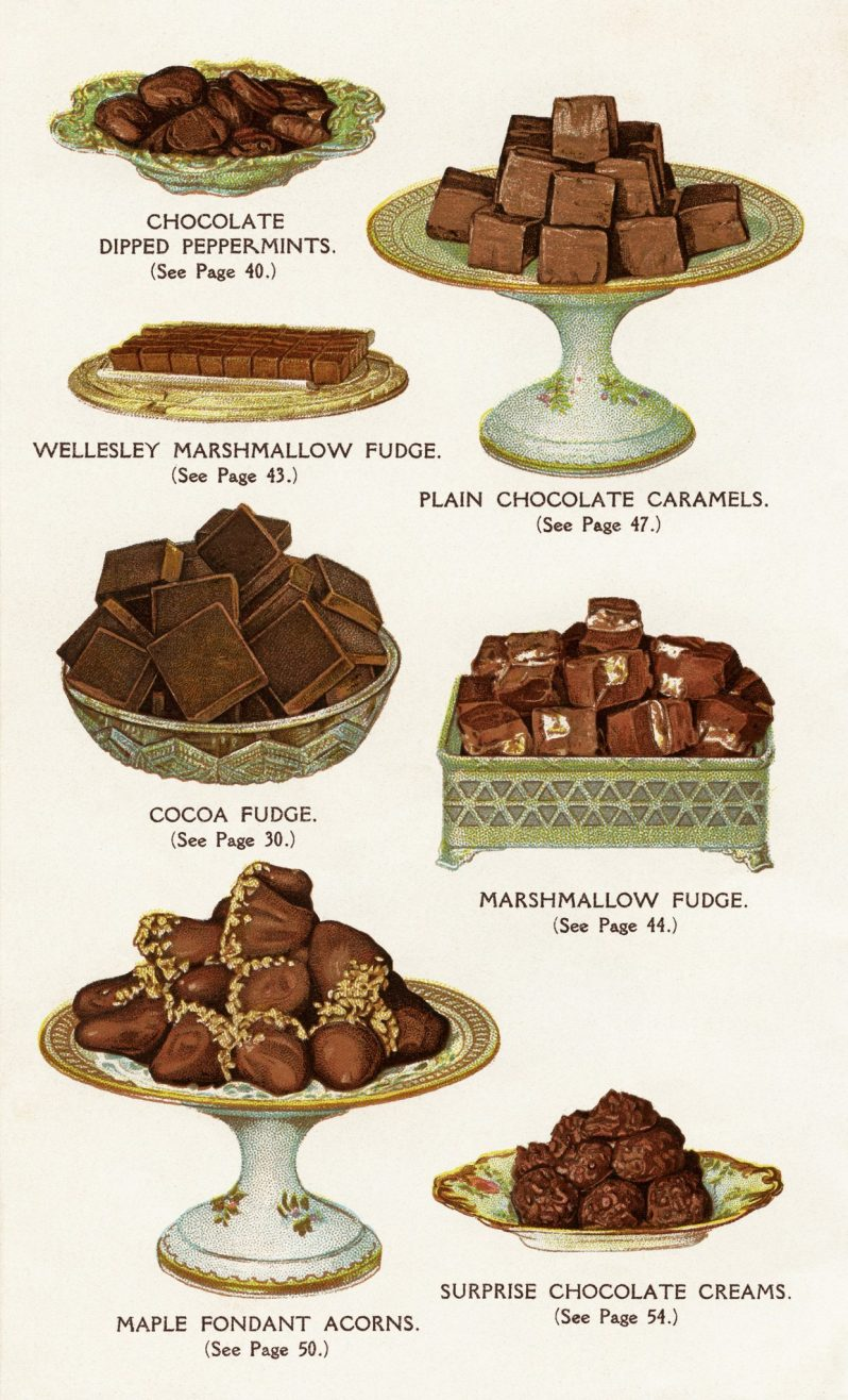 A collection of antique images of fudge, chocolate covered nuts, and more.