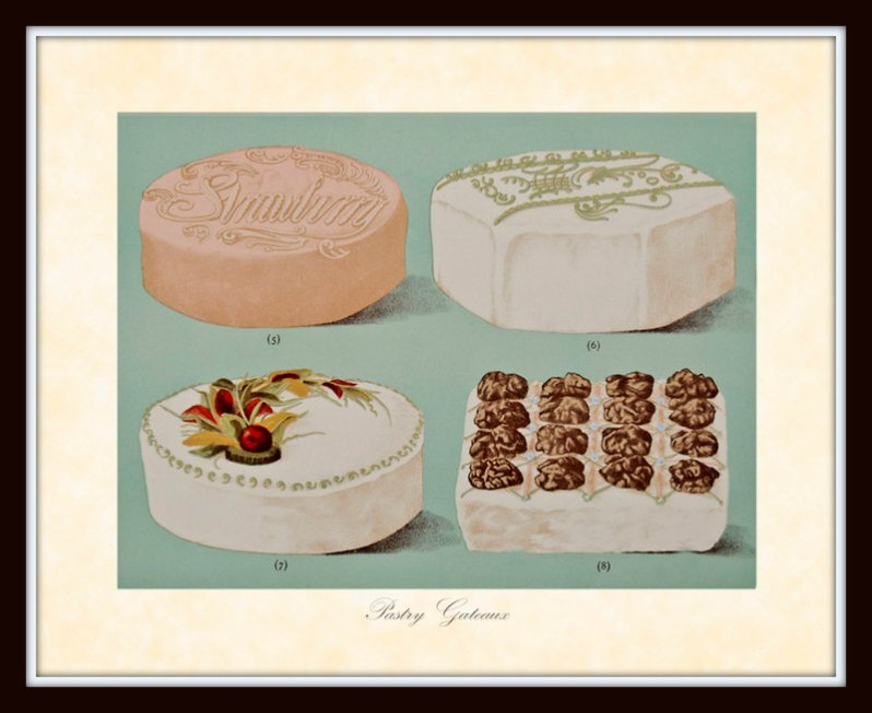 A vintage illustration plate featuring four gourmet desserts