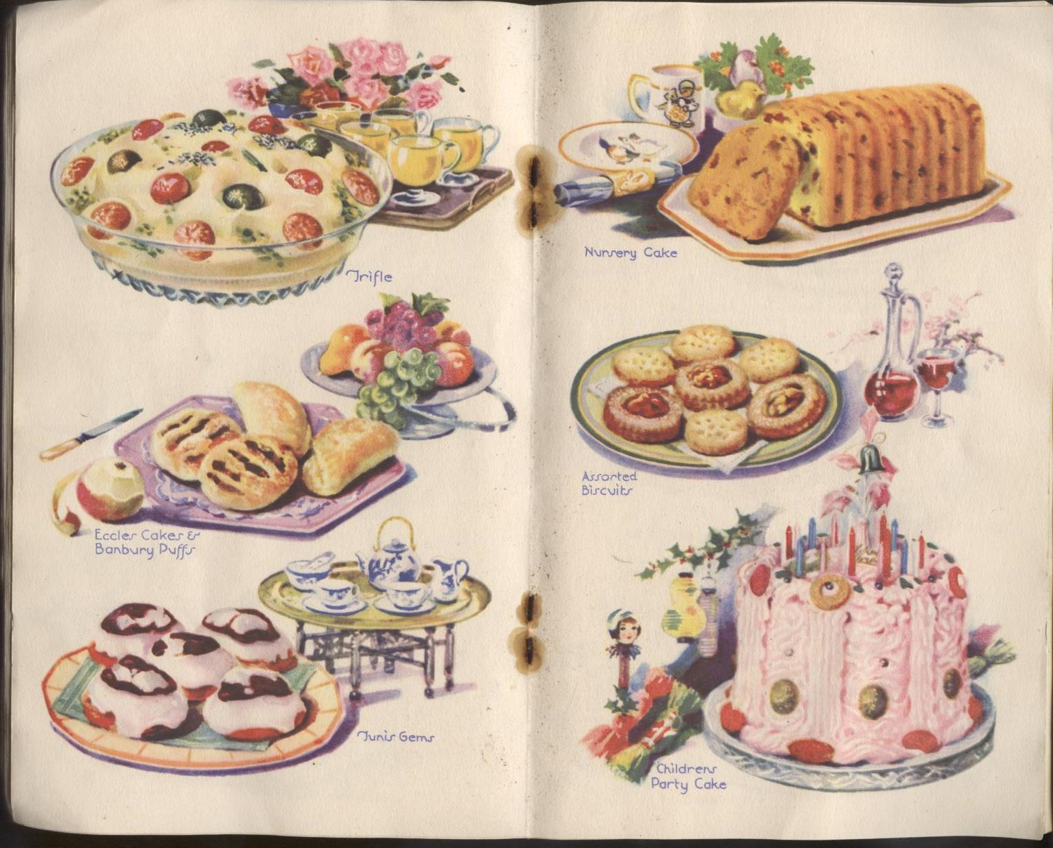 a collection of classic desserts from a vintage recipe book.