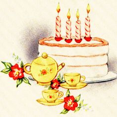A charming vintage illustration of a vanilla birthday cake with tea