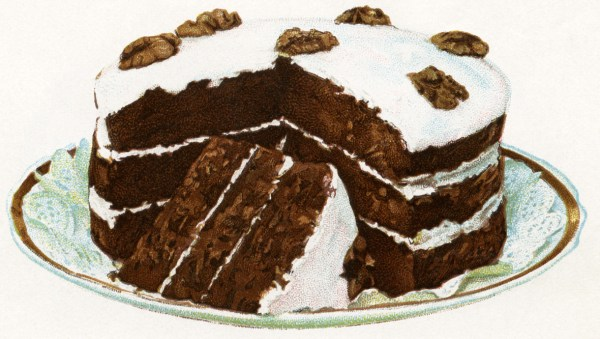Vintage illustration of a dark cocoa layer cake with vanilla frosting